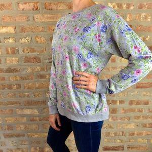 H & M Divided Grey Floral Crewneck Sweatshirt EUC